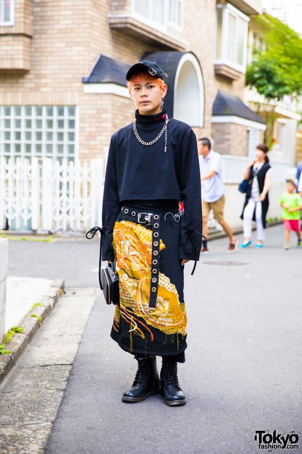Harajuku Guy in More Than Dope Sweatshirt, Hakama & Black Boots