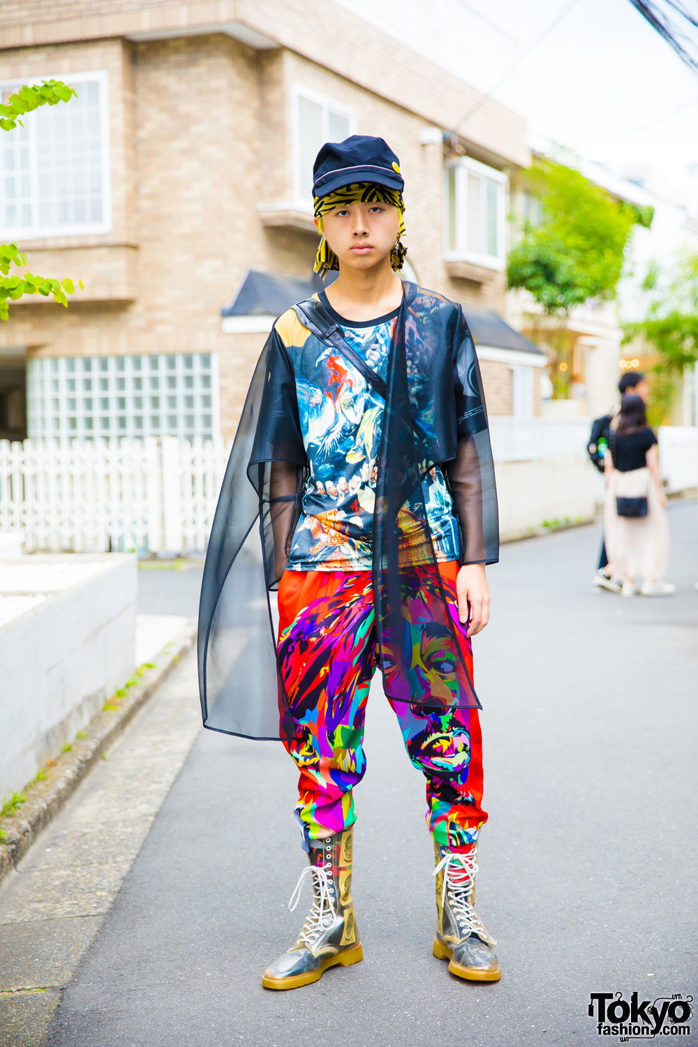 Japanese Fashion Student In Colorful Graphic Style W Dog