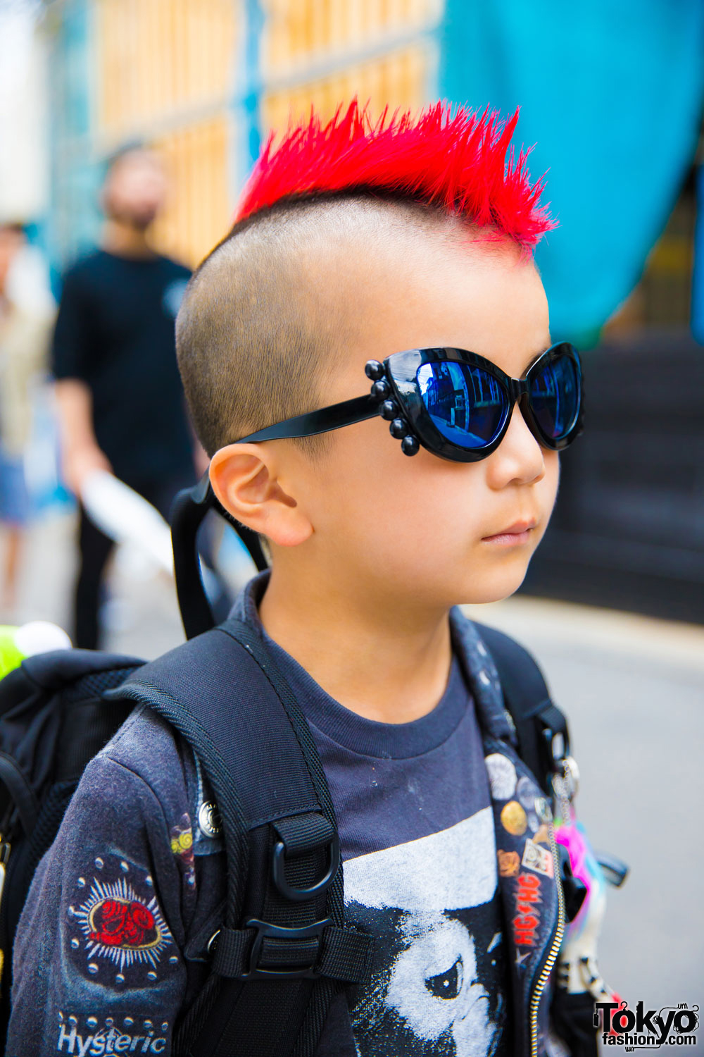 6 Year Old Harajuku Kid W Mohawk In Patched Jacket