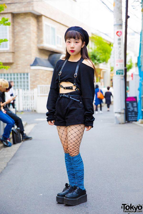 Harajuku Girl in Dark Fashion & Fishnets w/ OhPearl, Basic Cotton & Kinji Harajuku