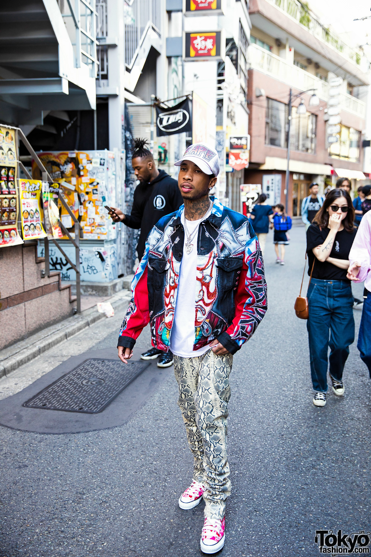 Tyga On The Street In Harajuku W Vietraw Bape Amp Dog