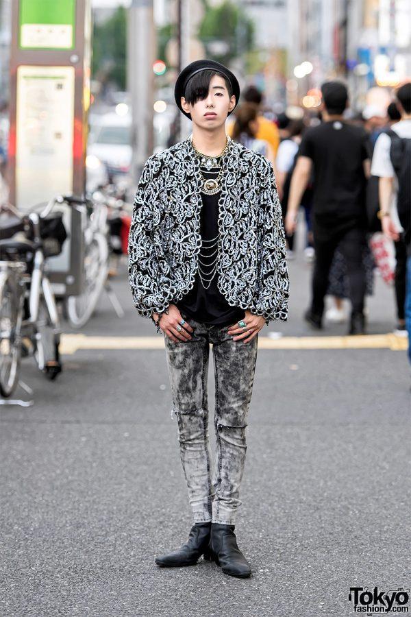 Harajuku Guy in Sequin Christian Dior Jacket & Faith Tokyo Tiger Necklace, Yosuke Boots