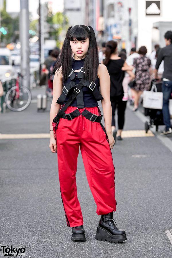 Harajuku Girl's Street Style w/ Drinkscancode, Harness, Demonia Boots & Faith Tokyo