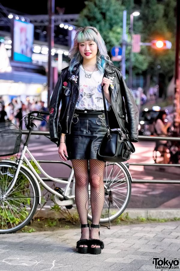 Elleanor in Harajuku w/ Schott Leather Jacket, Bubbles Skirt, Fishnets & Grafea Bag