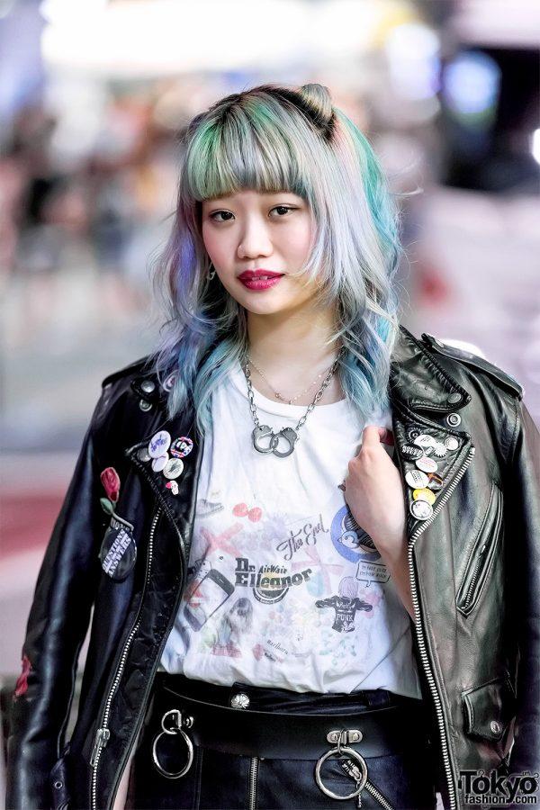 Elleanor In Harajuku W Schott Leather Jacket Bubbles