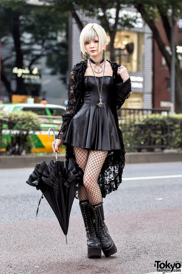 Gothic Harajuku Girl in Black Lace, Mini Dress, Platform ...