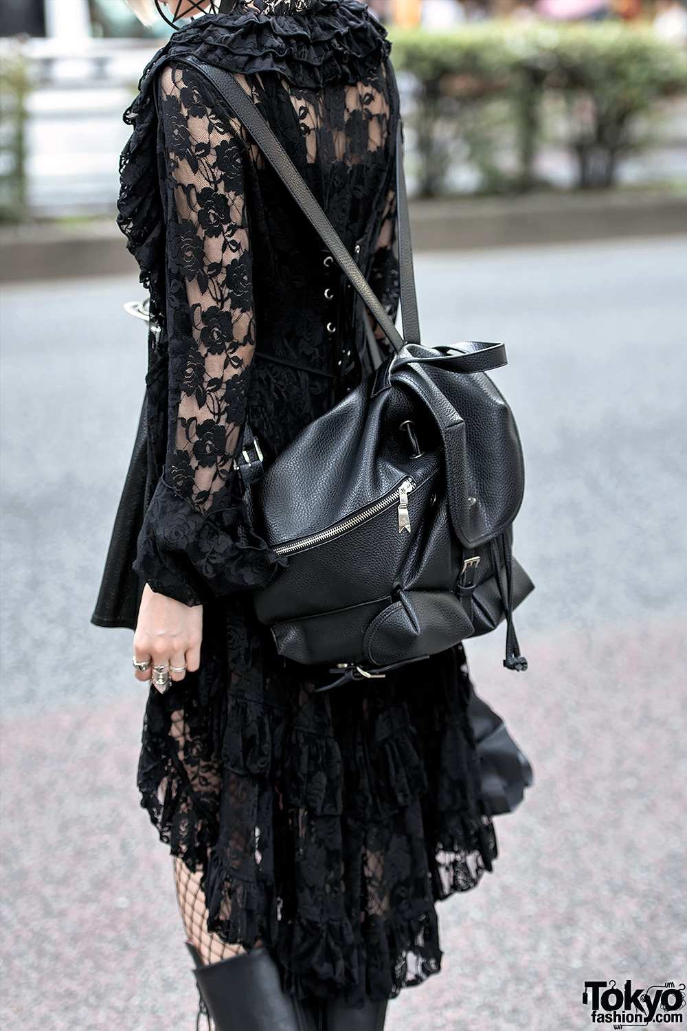 Gothic Harajuku Girl In Black Lace Mini Dress Platform