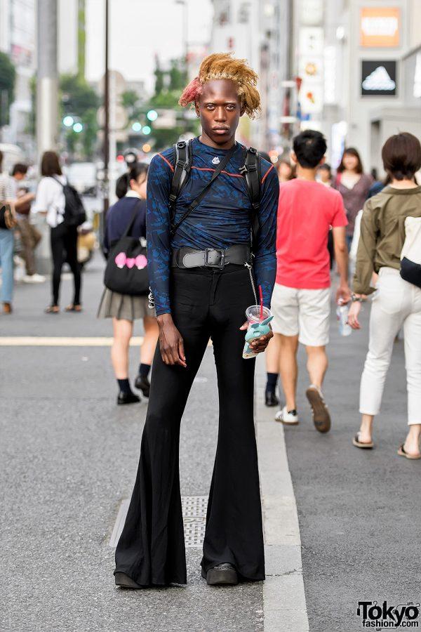 Harajuku Male Model w/  Camouflage Top, Flair Pants, Yosuke Platforms & 3D Rabbit iPhone Case