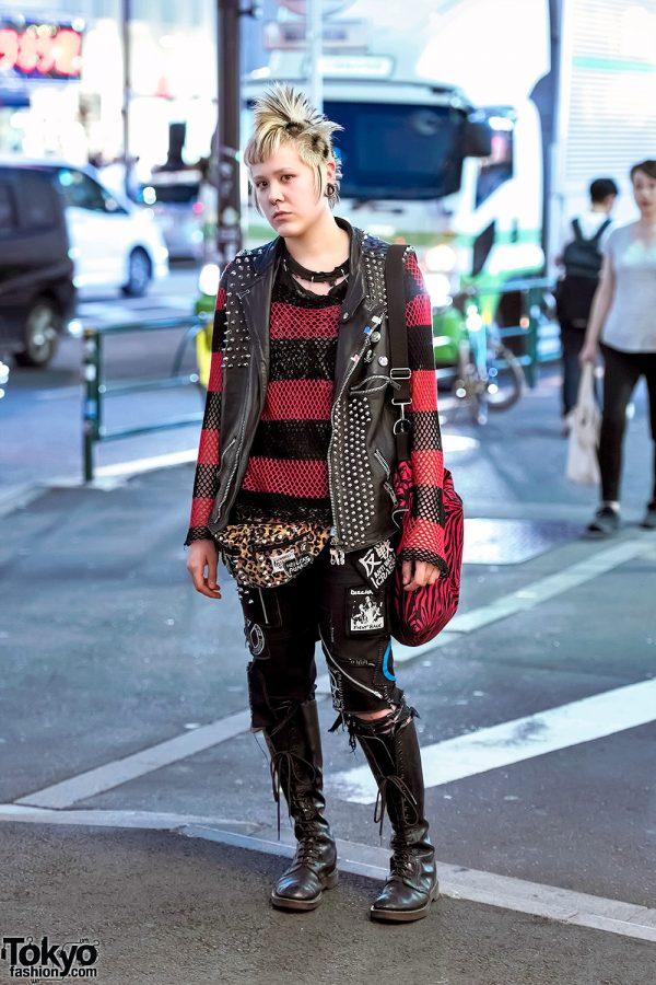 Harajuku Punk in Discocks Studded Leather Vest, Patched Denim, Dr. Martens & Leopard Print