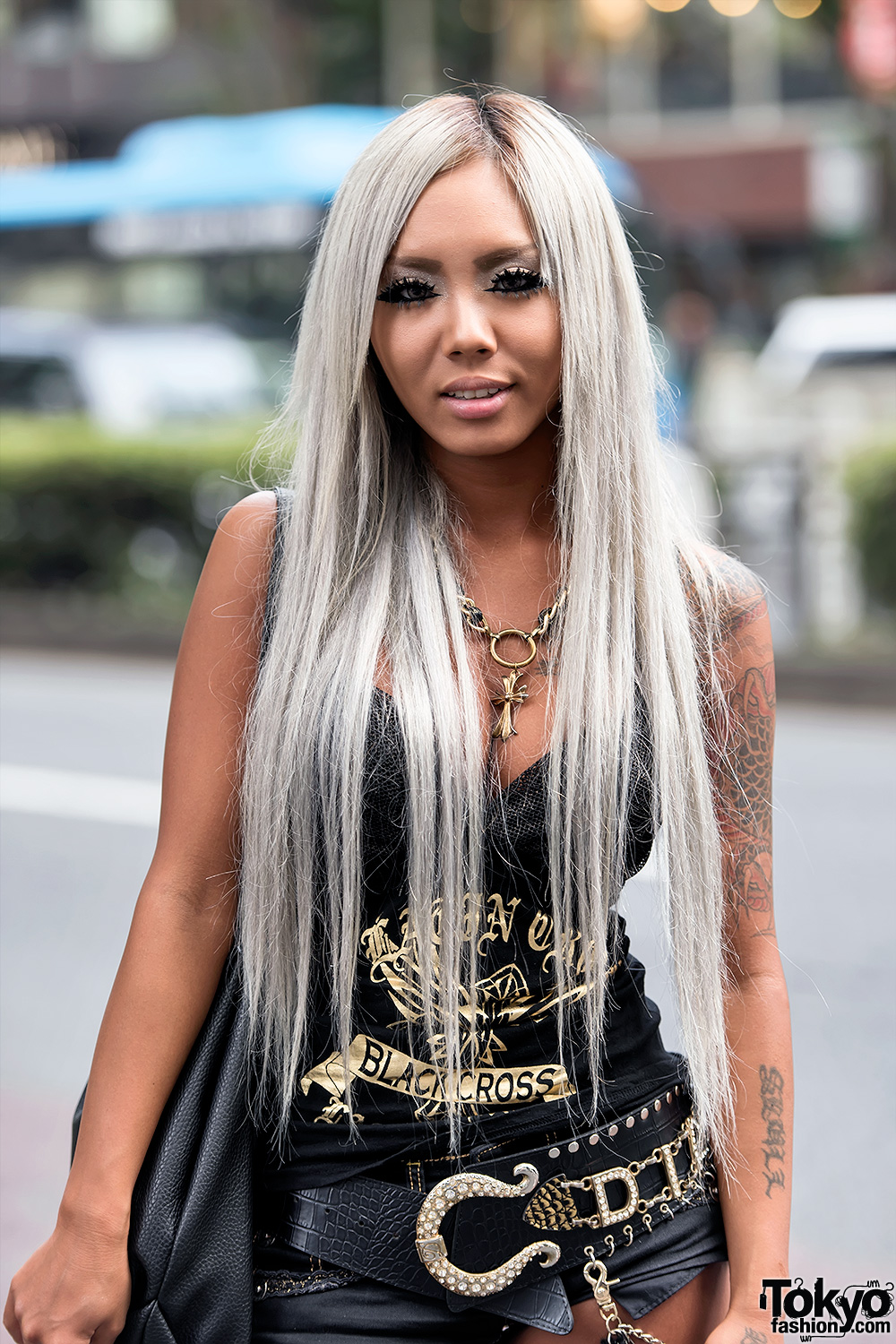 Japanese Kuro Gyaru On The Street In Harajuku Wearing D I