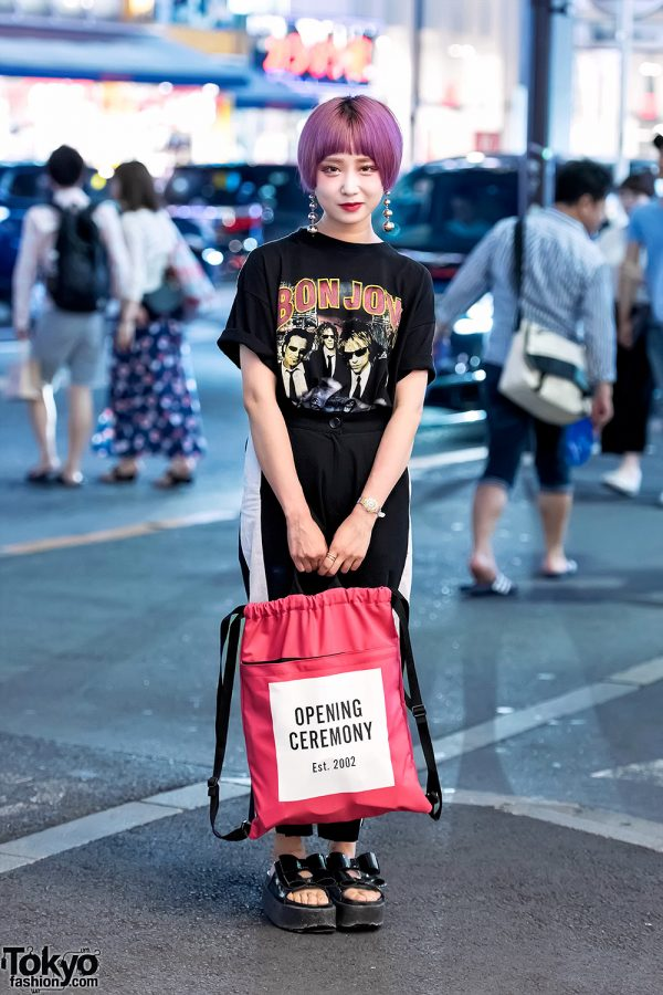 Pink Haired Student in Harajuku w/ Bon Jovi Tee & Opening Ceremony Bag