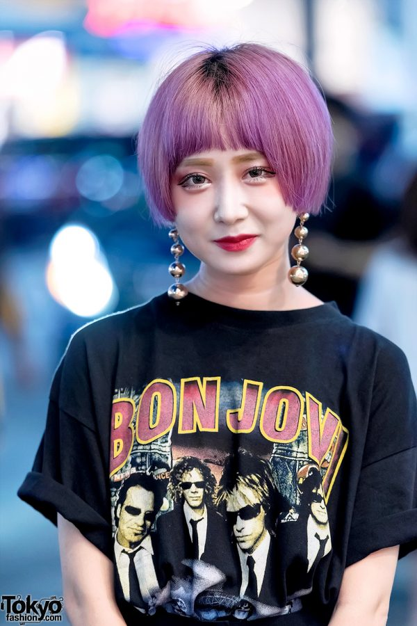 Pink Haired Student In Harajuku W Bon Jovi Tee Amp Opening