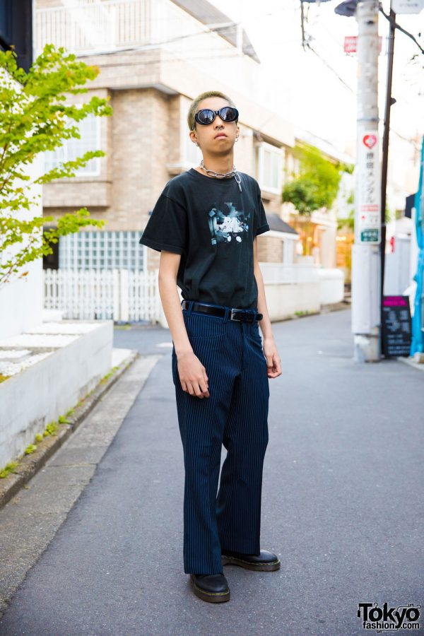 Vintage Inspired Harajuku Mens Street Style w/ Chain Necklace, Pinstripe Pants & Boots