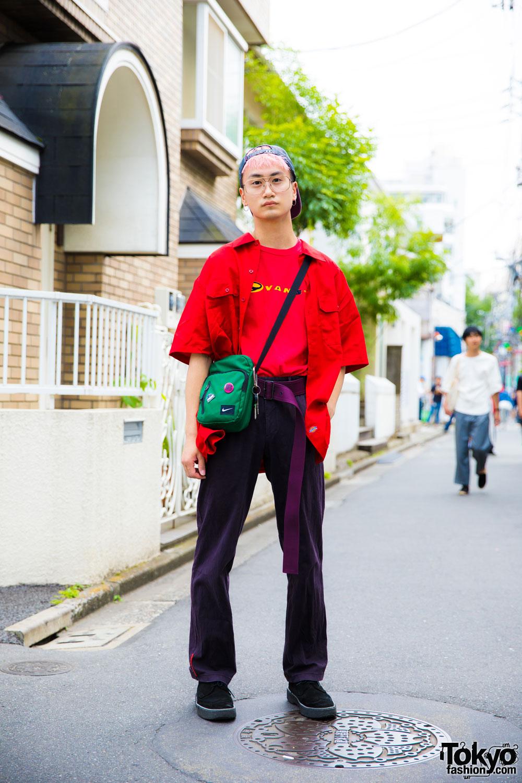 Pink Haired Harajuku Guy In Streetwear Style W Vans Nike