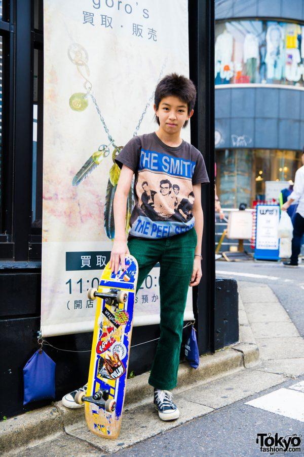 Yoshi's Harajuku Skater Style w/ Vintage Smiths T-Shirt, Converse & Ralph Lauren