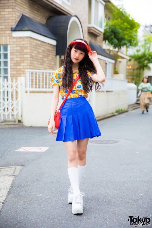 Harajuku Model/Actress in Colorful Street Style with Visor, Kiki2 Pleated Skirt & Platforms