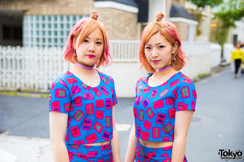 Japanese Pair Look Street Styles In Harajuku W/ Galaxxxy