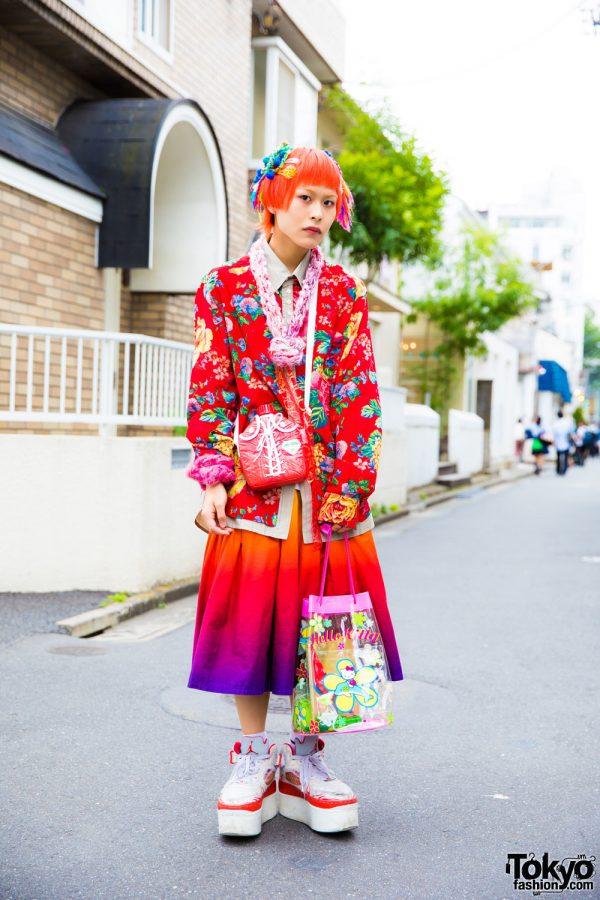 Harajuku Guy in Floral Print & Ombre Street Style w/ Kinji Harajuku
