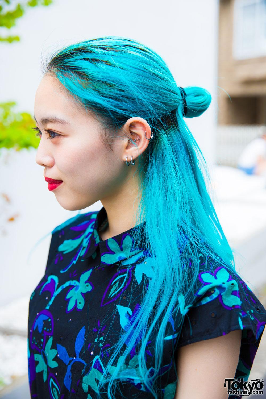 Harajuku Girl S Blue Hair Amp Summer Dress Street Style W