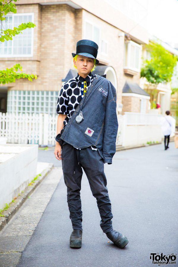Yellow-Haired Harajuku Guy in Polka Dots & Top Hat w/ Man G, Vetements, Julius & Vivienne Westwod