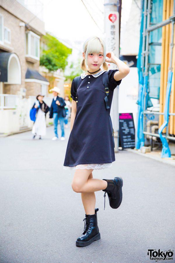CY8ER Idol Rinahamu in Harajuku w/ Dark Romantic Bubbles Tokyo Dress & Boots