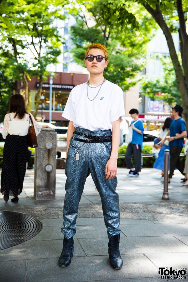 Harajuku Mens Streetwear Look w/ Vintage Snakeskin Pants, D.TT.K & Junya Watanabe
