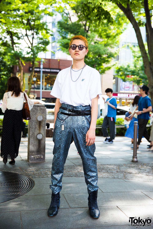 Harajuku Mens Streetwear Look W Vintage Snakeskin Pants D Tt K Junya Watanabe