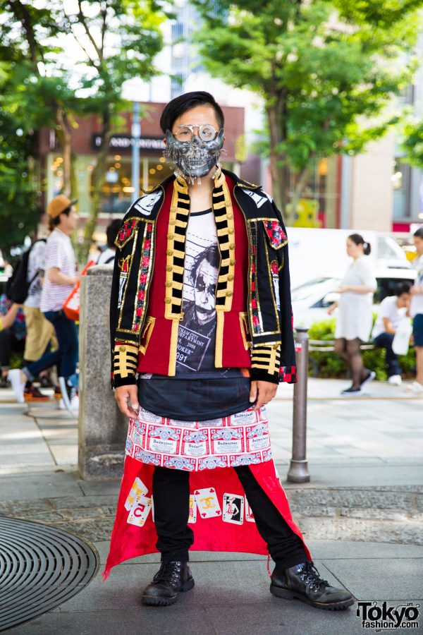 Eclectic Tokyo Street Style Including Metal Face Mask, Dog Harajuku Fashion & Joker Tee