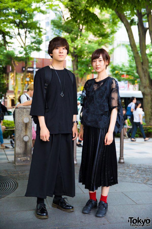 Harajuku Duo in All Black Minimalist Street Styles w/ 603, GGD & Dr. Martens
