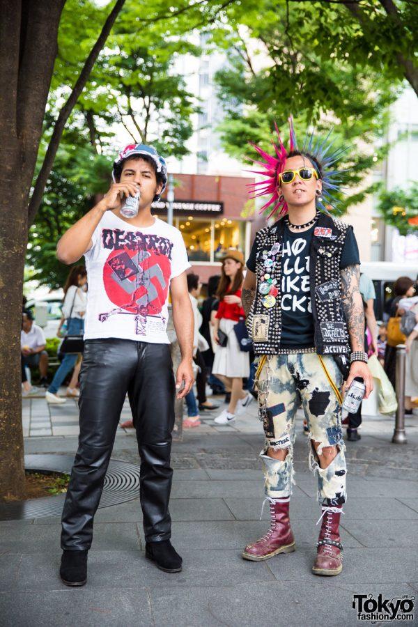 Harajuku Punks w/ Liberty Spikes, Studded Vest, Leather Pants & Boots