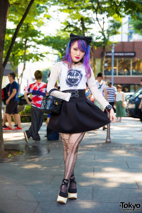 Moth in Lilac Guitarist in Harajuku w/ FUCT, Chanel, Tokyo Bopper & Motionless in White Gear