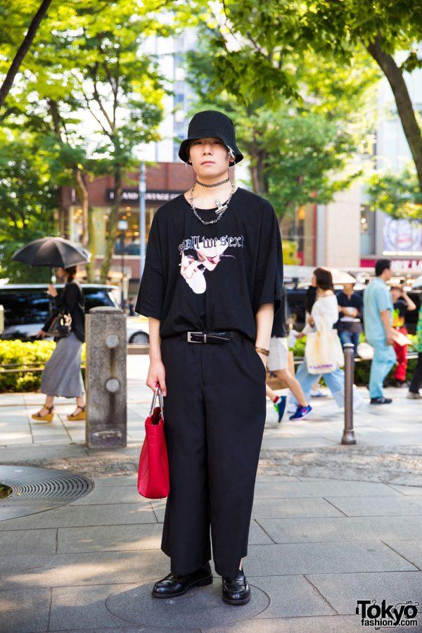 "Harajuku Monochrome Streetwear w/ BERCERK ""Shall We Sex"" Shirt, Bucket Hat & Metal Clamps"