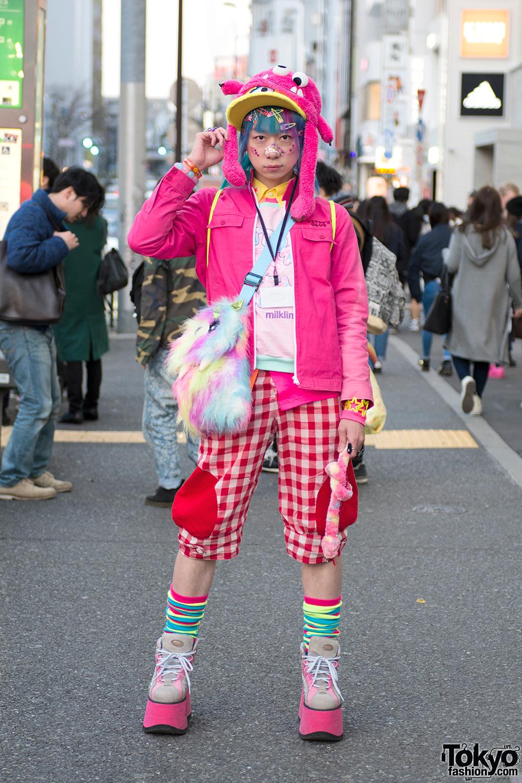 Junnyan S Pink Kawaii Harajuku Street Style W Monster Hat Monster Bag Milklim Candy Stripper