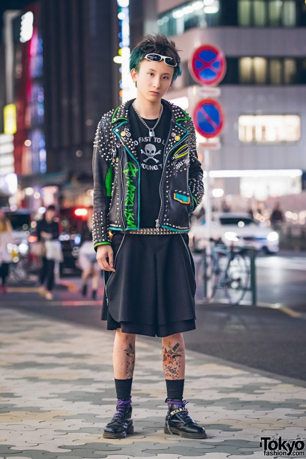 """Harajuku Punk in Studded Leather Jacket, """"Too Fast To Live Too Young To Die"""", Dr. Martens & Pokemon Tattoo"""