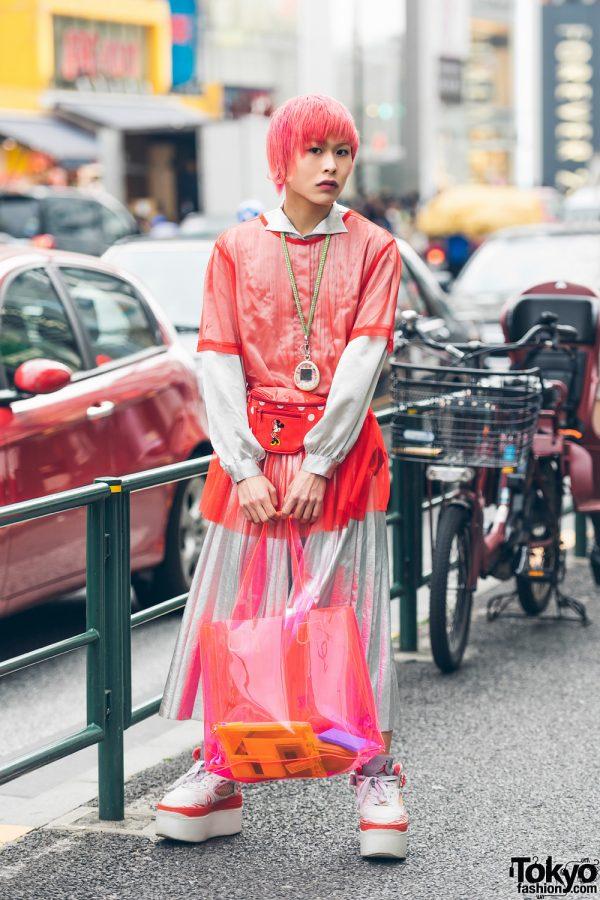 Pink Haired Harajuku Guy in Silver Skirt, Platform Jordans, Tamagotchi & Minnie Mouse