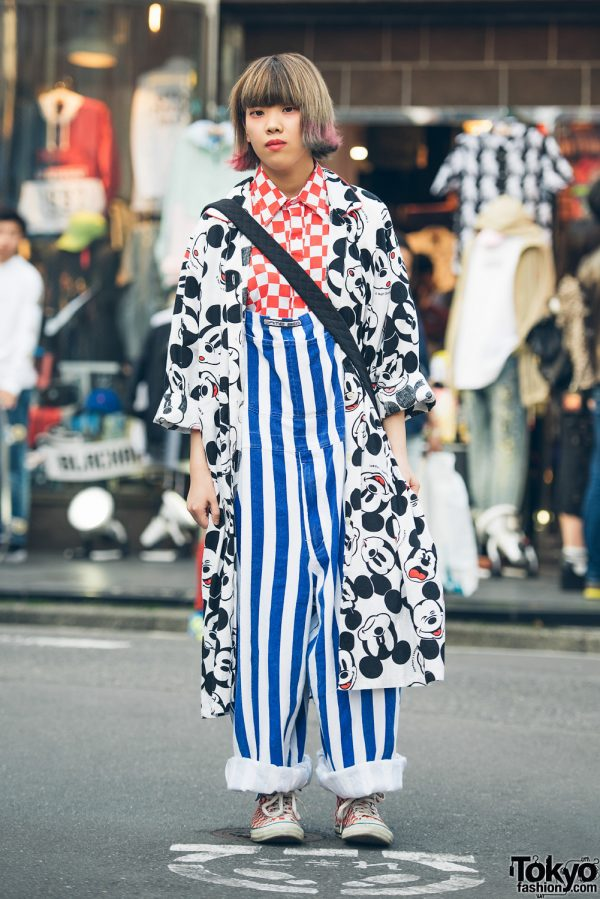 Harajuku Girl in Mickey Mouse Coat, Checkerboard, Stripes & Kiramisa Kanji Purse
