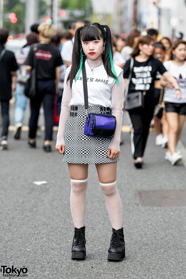 Twin-tailed Harajuku Girl in Checkered Skirt, Platforms & Faith Tokyo Crossbody Bag
