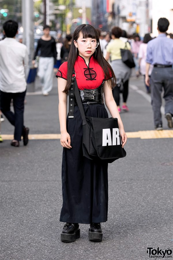 "Harajuku Girl in Chinese Top, Leather Corset Belt, Platform Creepers & Basic Cotton ""ART"" Bag"