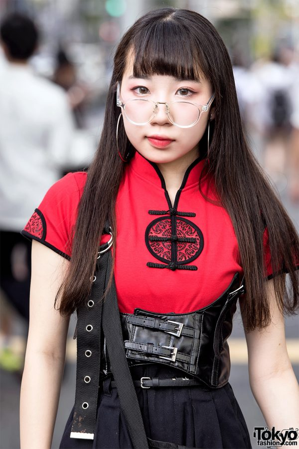 Harajuku Girl In Chinese Top Leather Corset Belt
