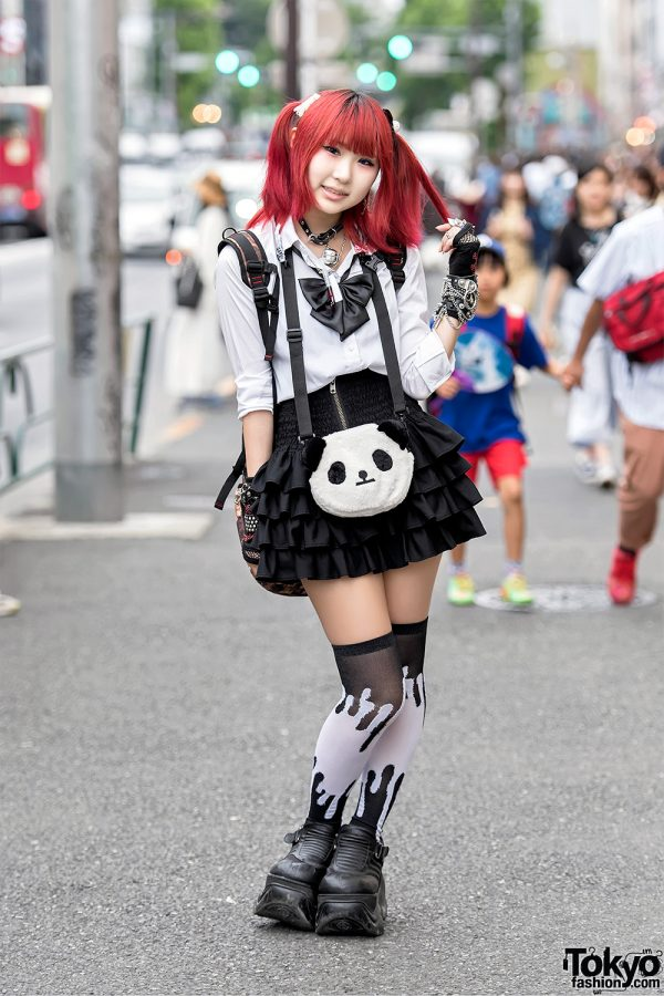 Harajuku Goth Girl w/ Pink Hair, Bell Choker, Demonia Platforms & Broken Doll Items