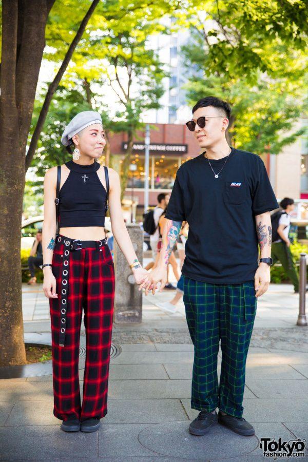 Plaid Harajuku Street Styles w/ Palace Skateboards, Dolls Kill, Gentle Monster & Vans