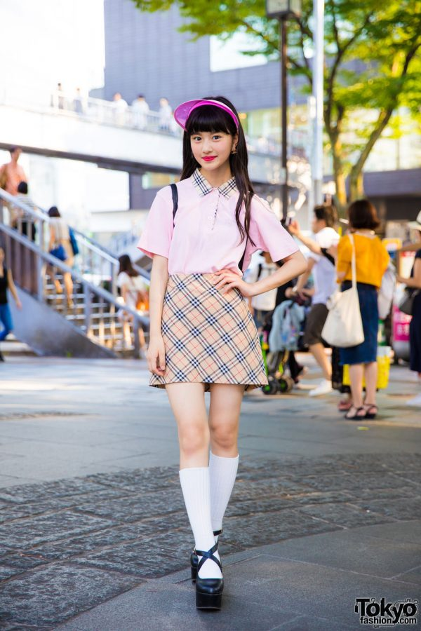 Harajuku Model Actress In Plaid Street Style W Kinji San