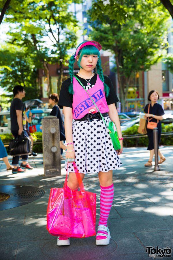 Colorful Harajuku Girl w/ Twin Braids in Polka Dot Skirt, 6%DOKIDOKI Accessories & Swimmer Ice Cream Bag