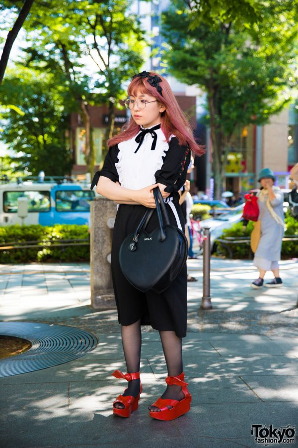 Harajuku Girl w/ Ruffle Dress, Milk Heart Handbag & Vivienne Westwood x Melissa