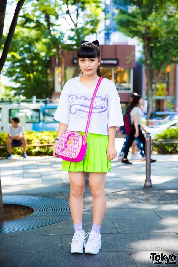 Harajuku Girl in Neon Skirt, My Little Pony Bag & Sneakers