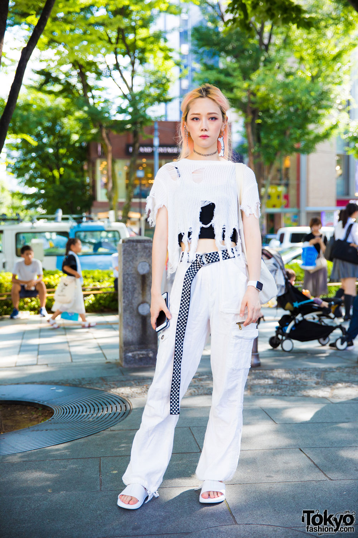 Harajuku Girl In Ripped Sweater Monochrome Tokyo Street Style