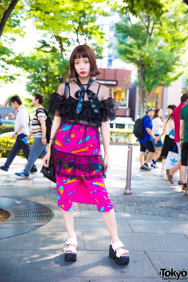 Japanese Engineer in Sheer Ruffle Top & Pink Skirt w/ Morph8ne, Fig&Viper, Oh Pearl & Sankaku