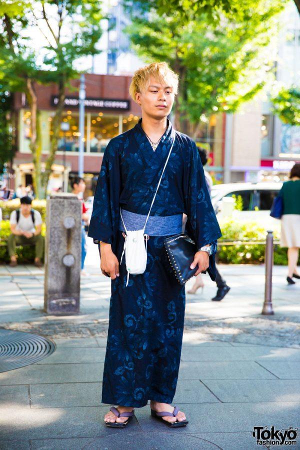 Floral Print Yukata in Harajuku w/ Goro's Jewelry & Valentino Studded Clutch Bag