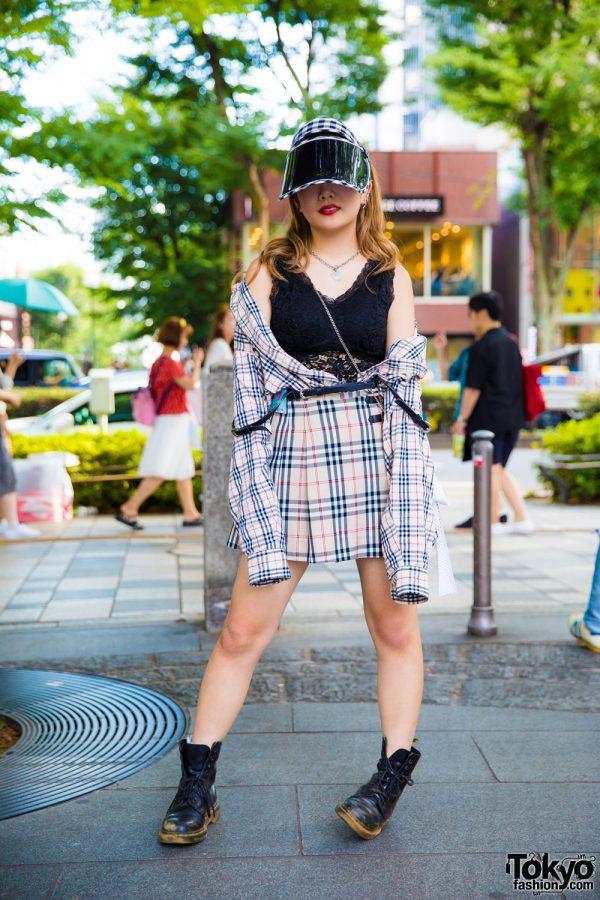 Plaid Harajuku Street Fashion w/ Burberry, Faith Tokyo, Dr. Martens & Peco Club