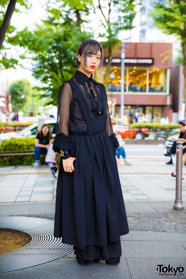 Comme Des Garcons All Black Street Style & Leather Cuff Bracelet in Tokyo